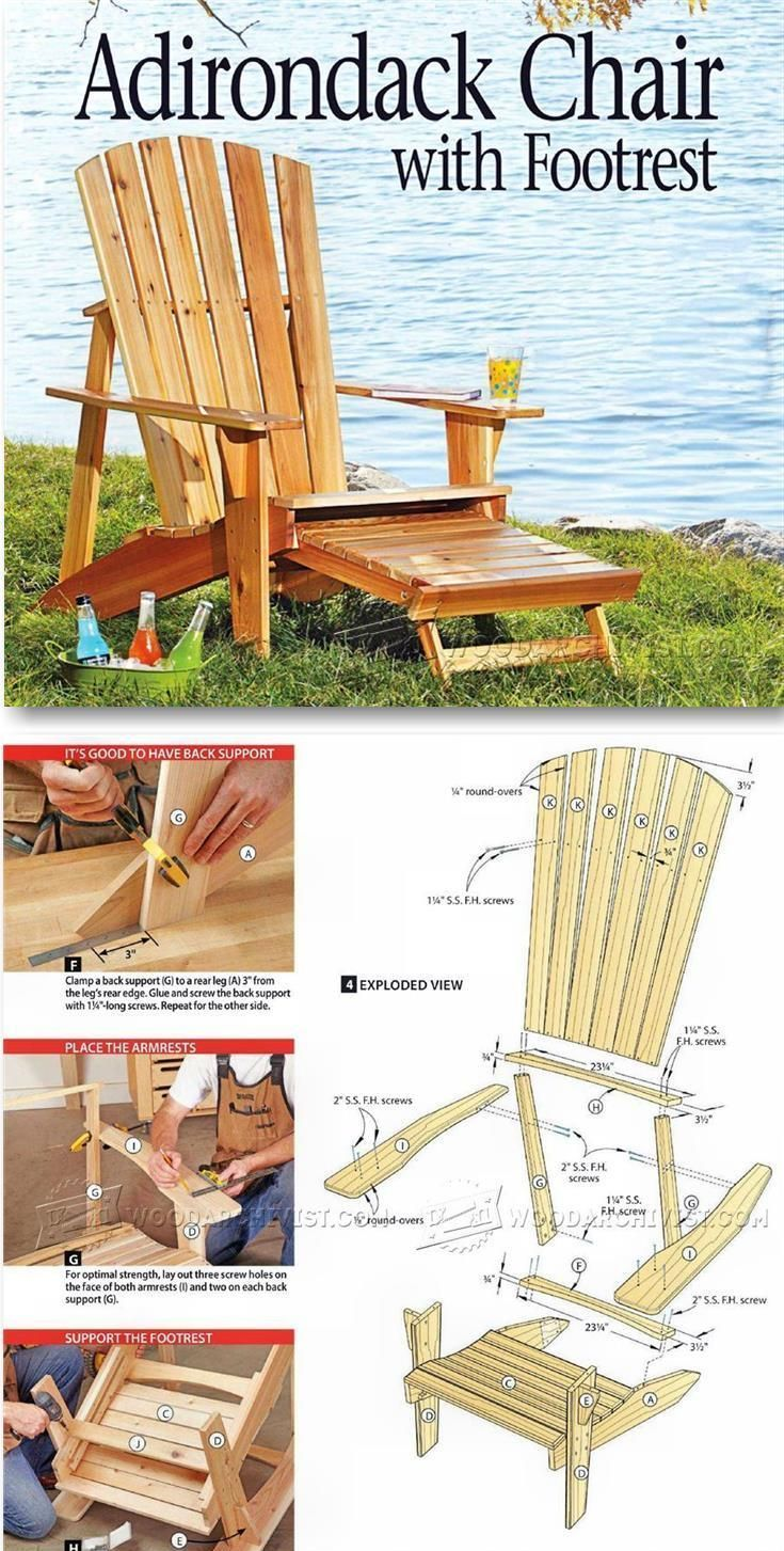 Lovely Adirondack Chair Footrest Plans Wooden Chair Plans Adirondack Chair Diy Outdoor Furniture Plans