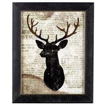 Deer on Newspaper Framed Wall Art