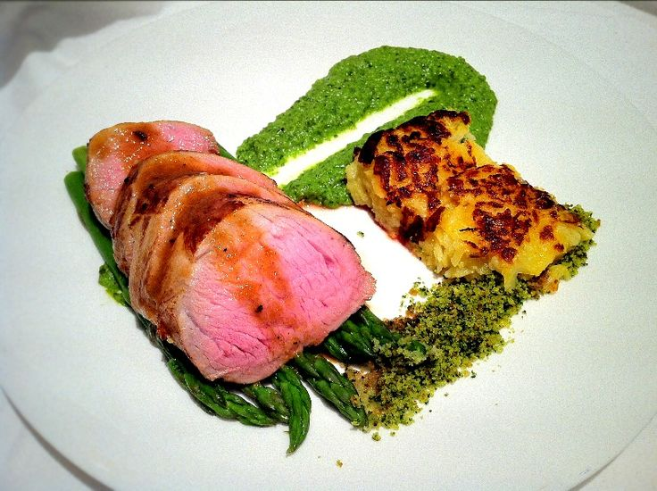 Maple and orange pork pea pesto and potato rosti fine for Fine dining gourmet recipes