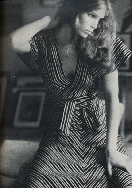 Ann Turkel  with Biba dress. Photographed by Arthur Elgort for Vogue UK, November 1972.