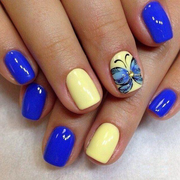 Bright gel polish for nails, Butterfly nail art, Butterfly nails, Great nails, May nails, Spring nail art, Spring nail designs, Square nails