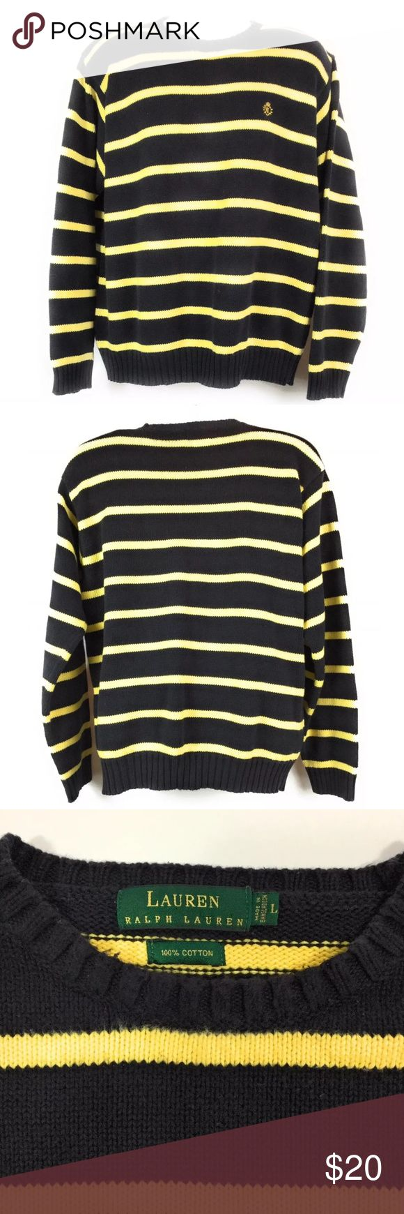 """Ralph Lauren Polo Sweater Striped Black Yellow L Lauren Ralph Lauren Men's Crew Neck Pullover Sweater. Size Large. Cotton with Crest on front. Black and Yellow Striped. This is a heavy Knit Sweater. Gently worn with no rips or stains. Measures:   Underarm to Underarm 25""""  Center Back Length 27""""  Please see pictures for details. Lauren Ralph Lauren Sweaters Crewneck"""