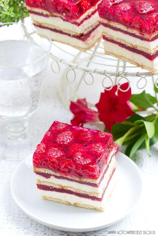 Ciasto grysikowe z malinami - Gotuję, bo lubię