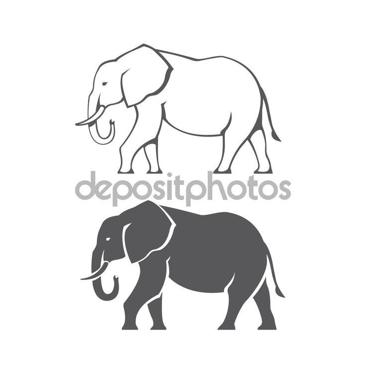 Силуэт слона — стоковая иллюстрация #68608583