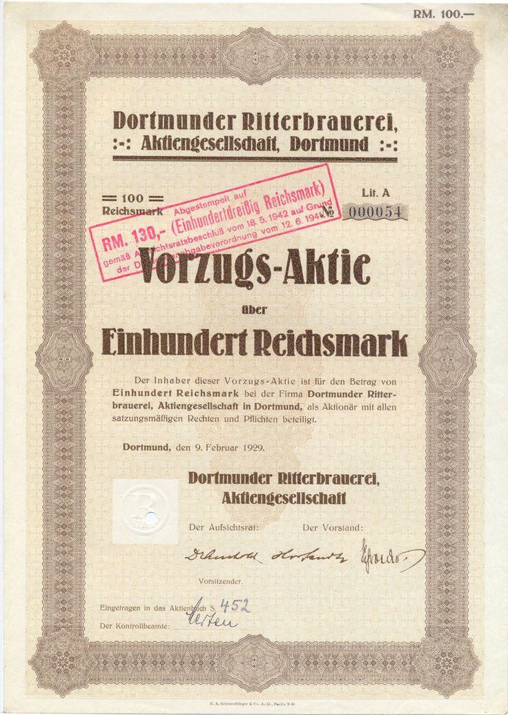 Ritterbrauerei Vorzugs-Aktie 100 RM 1929