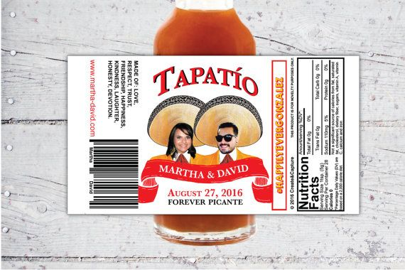 Tapatio Style Custom Hot Sauce Favor Labels By