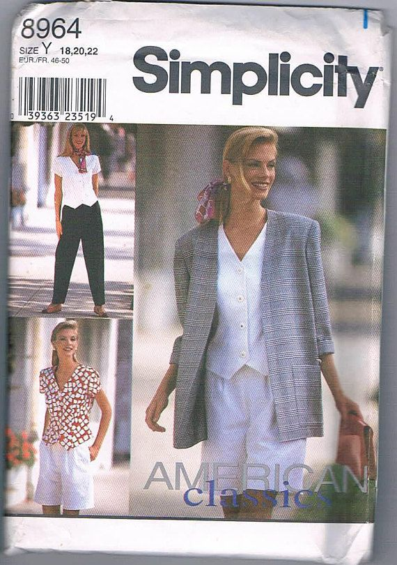 Simplicity 8964 Misses Pant or Shorts Top and Unlined Jacket