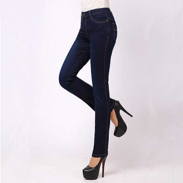 Winter Jeans Femme Slim Straight High Waist Cotton Plus Size Denim Jeans Womens Pants For Women Alta Jeans Cintura RUISUN Y421