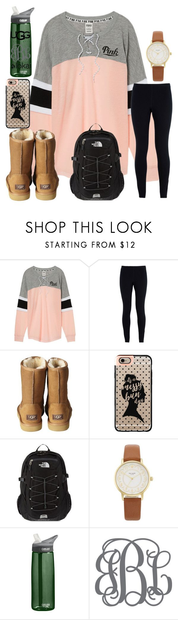 """""""only two days of school this week!!!!"""" by ctrygrl1999 ❤ liked on Polyvore featuring Victoria's Secret, NIKE, UGG Australia, Casetify, The North Face, Kate Spade and CamelBak"""