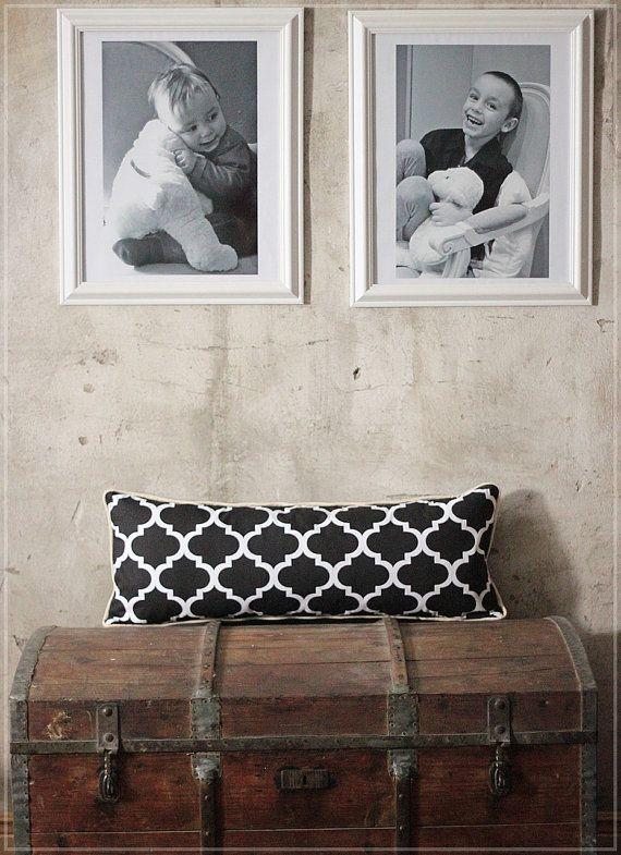 Moroccan Lumbar Pillow -  Black and White Decorative Throw Pillow - Geometric moroccan pillow