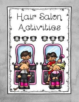 hair salon matching flashcards and coloring