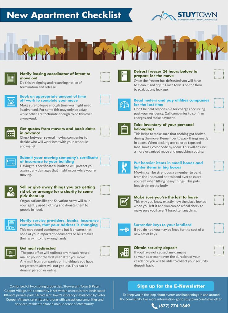 New Apartment Moving Checklist Infographic WWA Pinterest - sample new apartment checklist