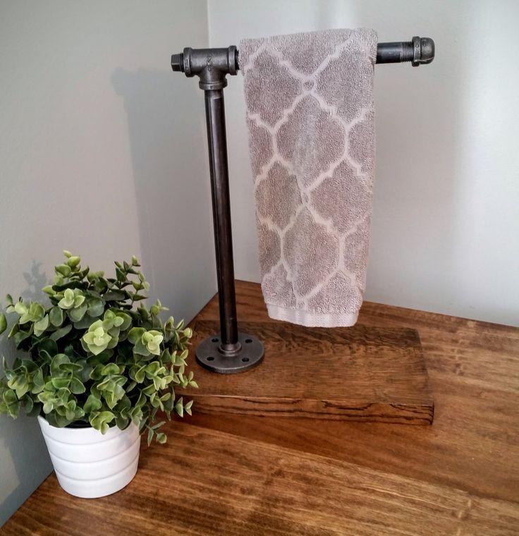 Towel rack, towel bar, towel holder rod hand towel holder bath towel industrial bathroom rustic towel rack steampunk iron pipe door handle by LocustAndPlum on Etsy https://www.etsy.com/listing/449412542/towel-rack-towel-bar-towel-holder-rod