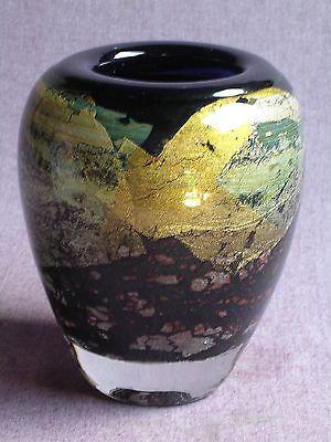 JEAN CLAUDE NOVARO-maître verrier-vase décor intercalaire feuilles d'or-1989