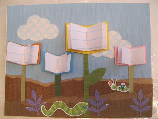 Whimsical Ways: Library Thank You Card--bulletin board idea for reading
