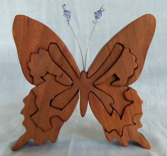 Butterfly Wooden 3D Puzzle in Cherry with by HolyokePuzzles, $24.00  Use coupon code PIN10 for 10% off anything in the Holyoke Puzzles store. #shopsmall #artisansofwmass