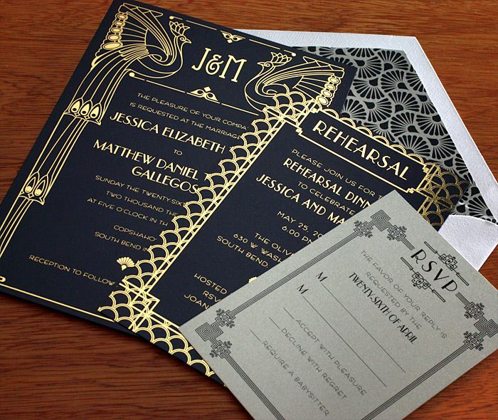 1920's art deco inspired wedding invitations.  Stunning!                                                                                                                                                                                 More