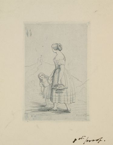 A woman and child  dated 16 Jan 1841 by Prince Albert, Prince Consort, consort of Victoria, Queen of the United Kingdom (1819-61)