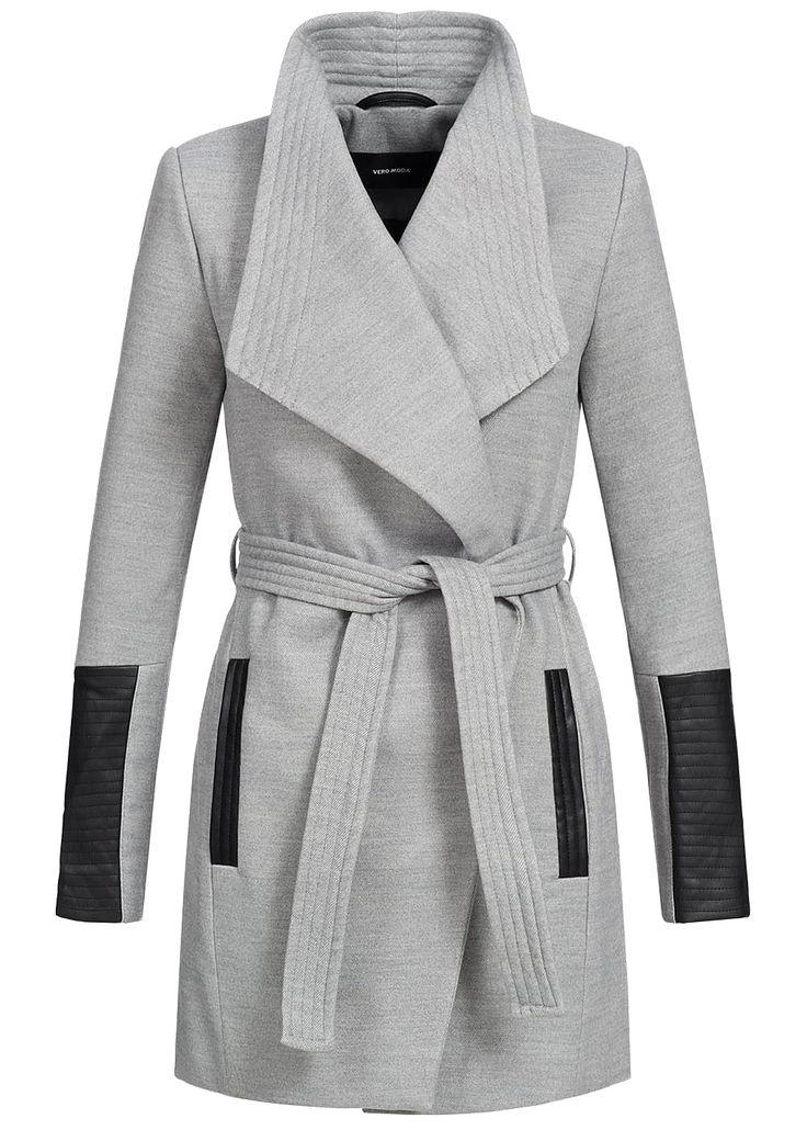 Vero Moda Damen Jacke NOOS Gürtel Kunstleder Unterarm 2 Taschen hell grau melange - 77onlineshop