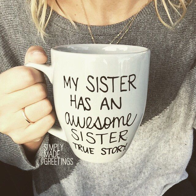 My sister has an awesome sister mug funny by simplymadegreetings