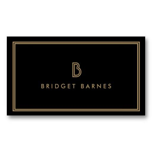 ART DECO MONOGRAM INITIAL LOGO in GOLD and BLACK - Customizable Business Card Template