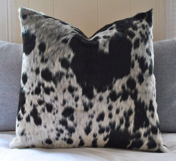 Cowhide Throw Pillow Cover Black White Cow hide Decorative