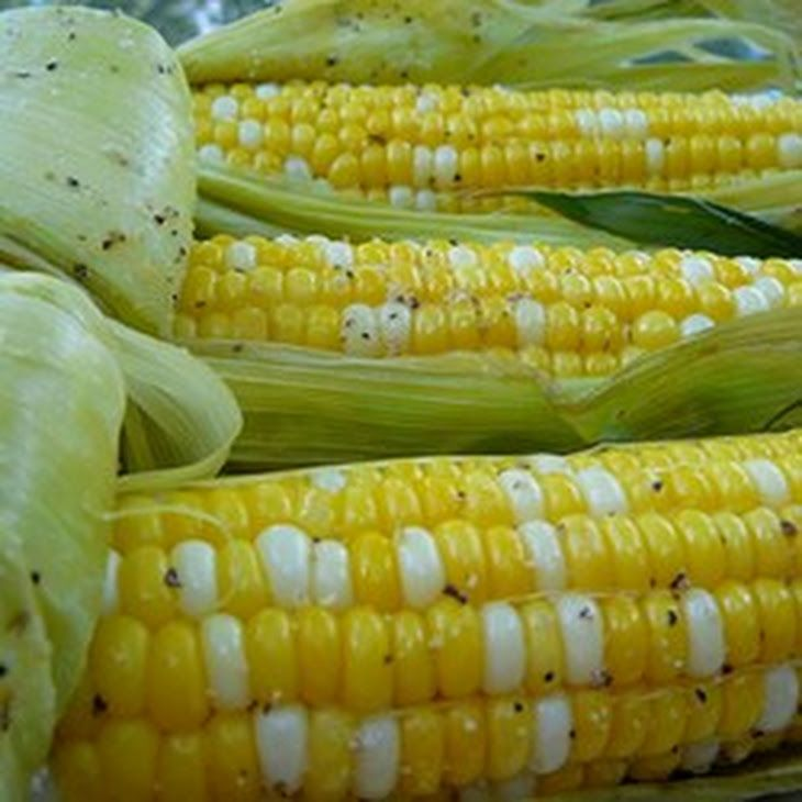 Grilled Corn on the Cob Recipe Side Dishes with corn, butter, salt, pepper