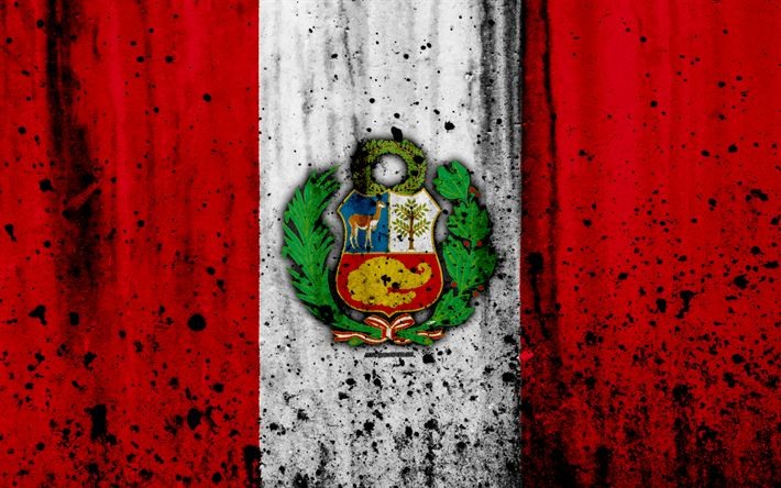 Download wallpapers Peruvian flag, 4k, grunge, flag of Peru, South America, Germany, national symbolism, coat of arms of Peru, Peruvian coat of arms