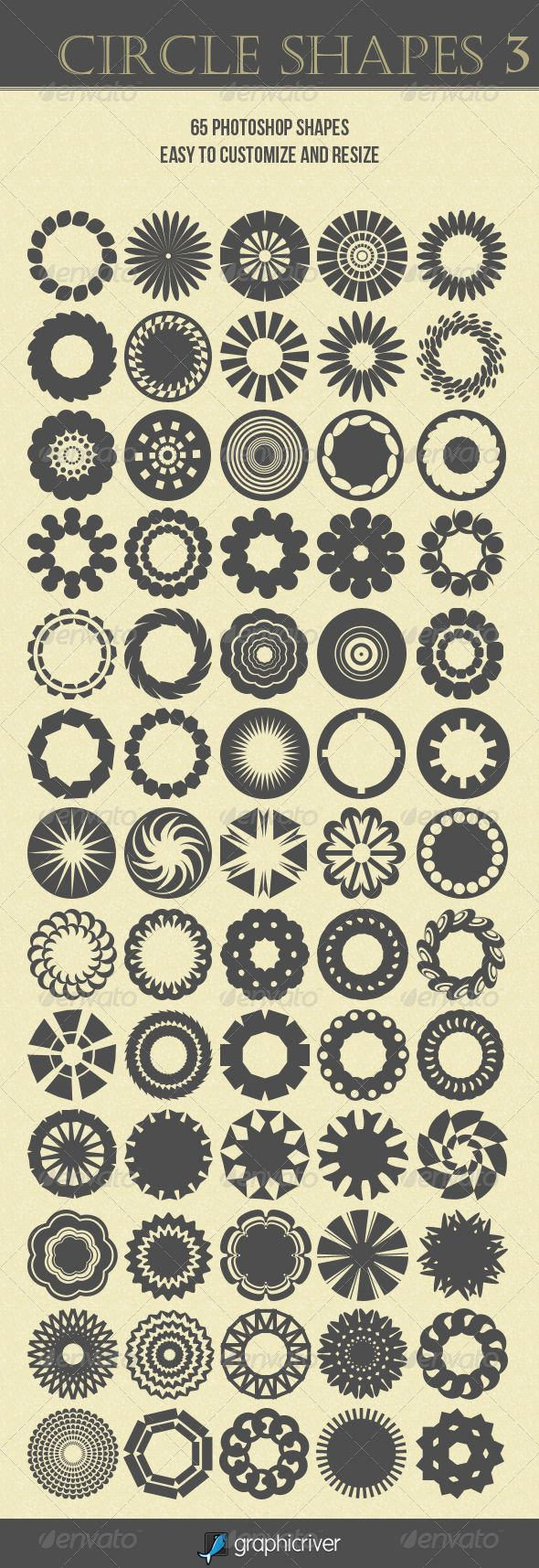 Circle Shapes 3  #GraphicRiver         Set of 65 circle shapes easy to customize and resize.   The pack includes: 1) .CSH file with 65 circle shapes 2)Instruction .txt How to Install   I hope You like it!     Created: 8May12 Add-onFilesIncluded: PhotoshopCSH MinimumAdobeCSVersion: CS Tags: black #circle #customize #modern #radial #ring #round #shape #shapes #various #vector