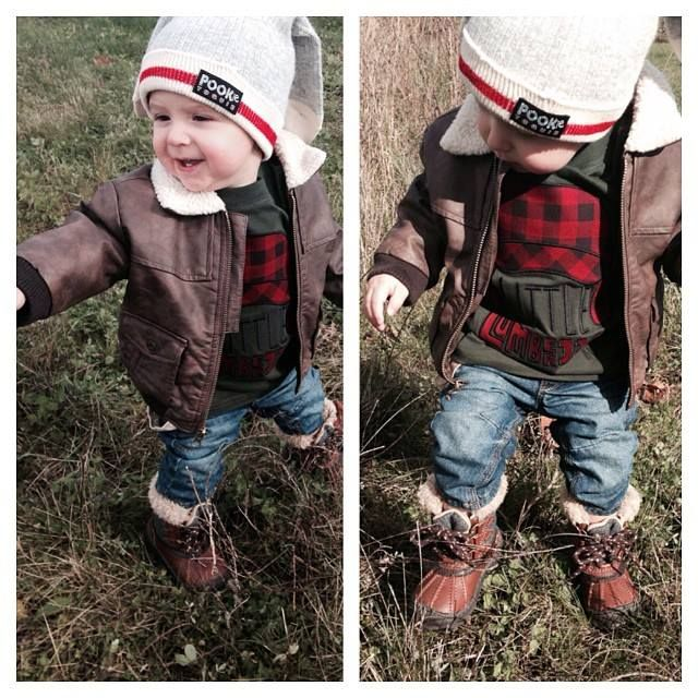 Little Lumberjack.. I want some boots like that for him AND me!