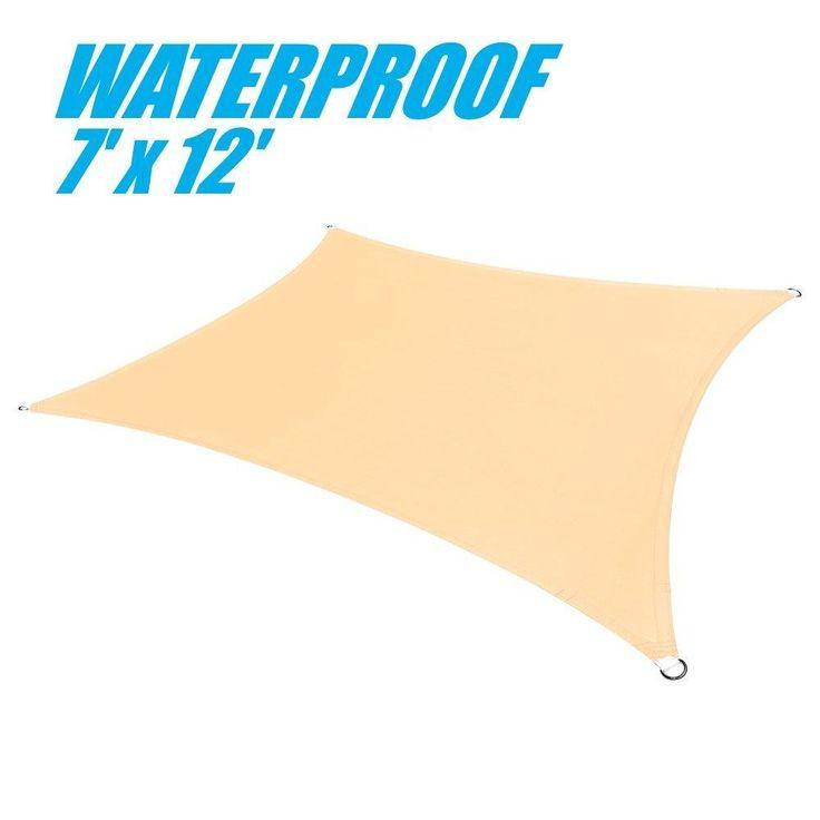 100% BLOCKAGE Waterproof 7' x 12' Sun Shade Sail Canopy Rectangle Beige