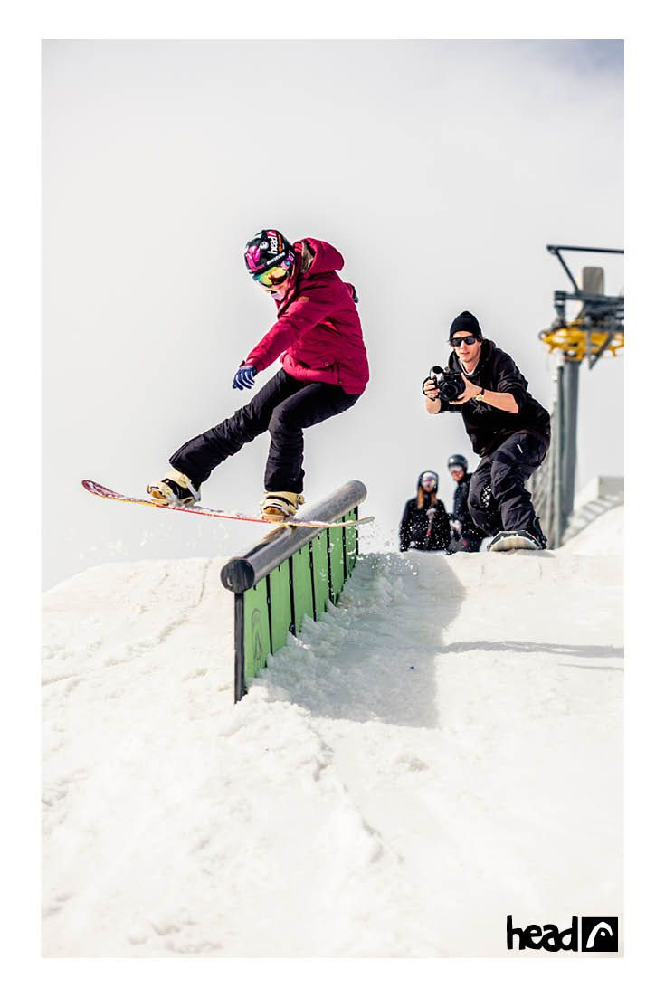 Becky Menday rocking the rail at the Girls Trip in Laax //ridehead //head snowboards