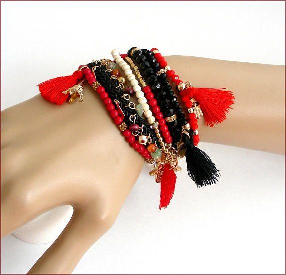 boho charms tassel woman bracelet red/black