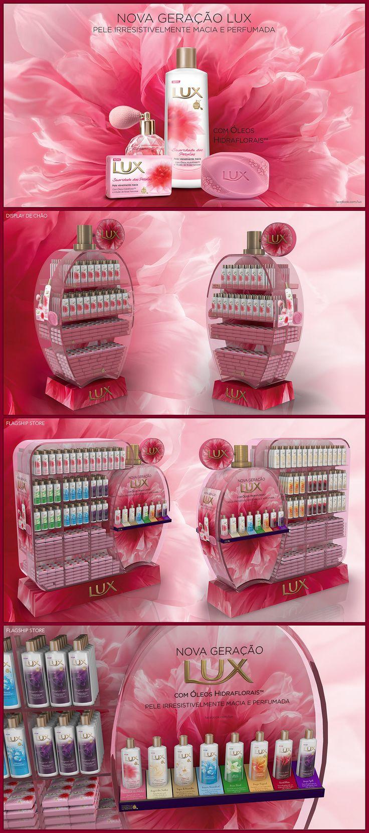 Materiais de visibilidade no PDV para o lançamento da linha de sabonetes líquidos Lux Luxo.