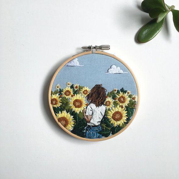 Modern Hand Embroidery, Sunflower Field, Girlfriend Gift, Hoop Art 10 cm