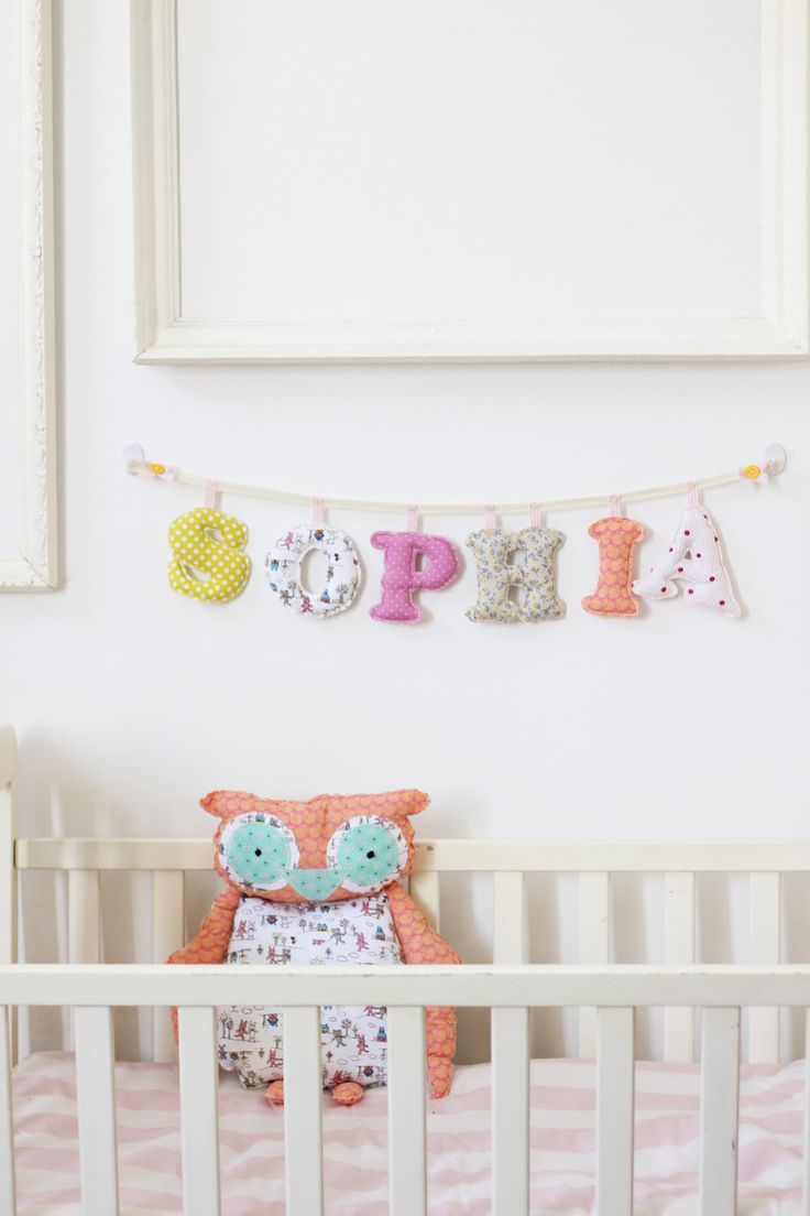 Made To Order - Baby Girl Name wall Decor - 6 letter girl's room name banner. $60.00, via Etsy.