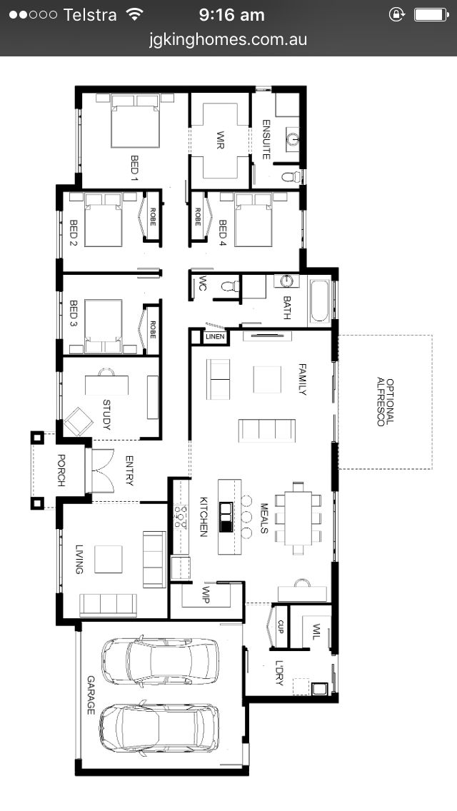 Expand the family and the meal area to the right to create larger family room and a breakfast area.
