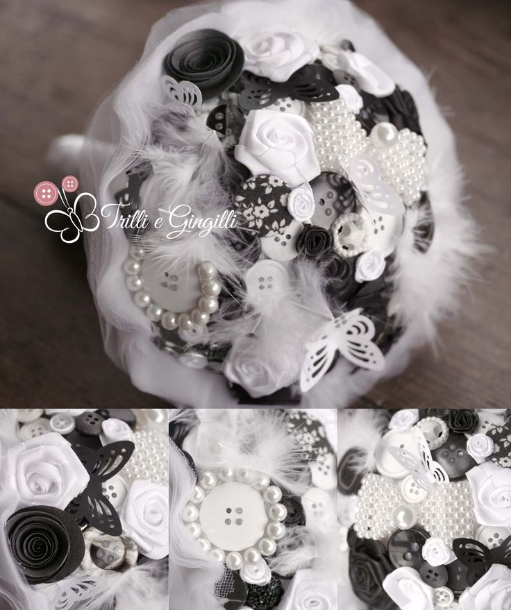 Bouquet sposa bianco e nero con bottoni, perle e piume. Wedding bouquet black and white with buttons, pearls, plumes. Scopri altri bouquet simili su www.trilliegingilli.com