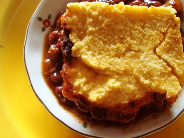 Vegetarian Chili and Cornbread Casserole. With beans and mock meat for plenty of protein, this easy vegetarian and vegan chili casserole can be prepared in just a few minutes. If you like corn bread, you'll like this recipe.