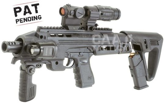 Convert your Glock pistol into a carbine in seconds. Very cool.