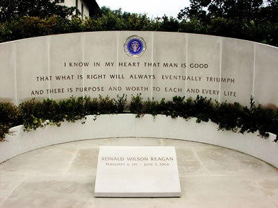 Ronald Reagan's final resting place at his presidential library in Simi Valley, CA .