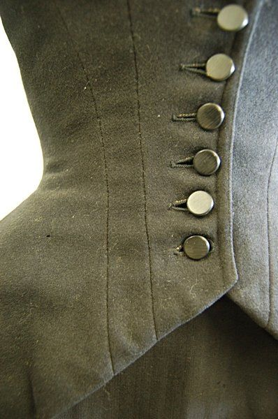 A black wool riding habit jacket, 1880s, together : Lot 1243