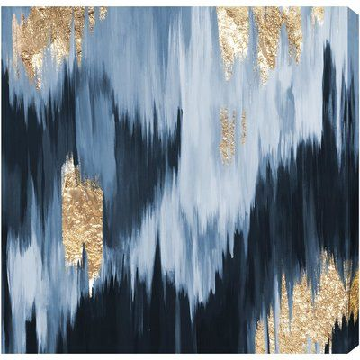 'Gold Blue Fall' Graphic Art Print on Canvas