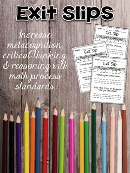 Encourage and develop math process standards and metacognition with this collection of 50 exit passes! On each exit slip, students will rate their understanding of the day's lesson and explain their rating. There is also a question that encourages reflective thinking about the process of math.