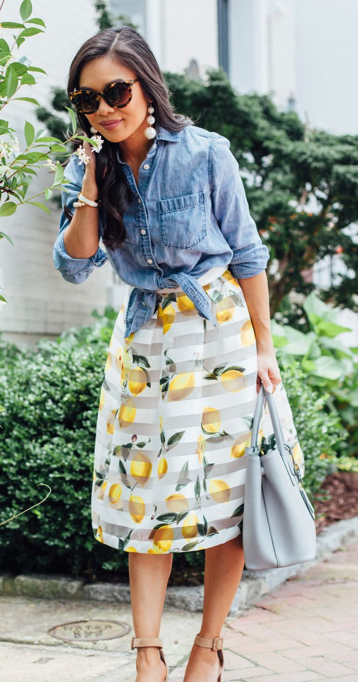 #summer #outfits Stopping To Smell The Flowers This Sunday  It's A Little Cloudy And I'm Working Tonight, So I'm About To Make The Most Of My Morning! Plus, How Cute Is This  Skirt??  // Shop This Outfit In The Link