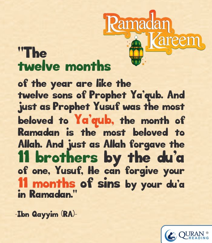 """The twelve months of the year are like the twelve sons of Prophet Ya'qub. And just as Prophet Yusuf was the most beloved to Ya'qub, the month of Ramadan is the most beloved to #Allah. And just as Allah forgave the 11 brothers by the du'a of one, Yusuf, He can forgive your 11 months of sins by your du'a in #Ramadan."" - Ibn Qayyim (RA)"