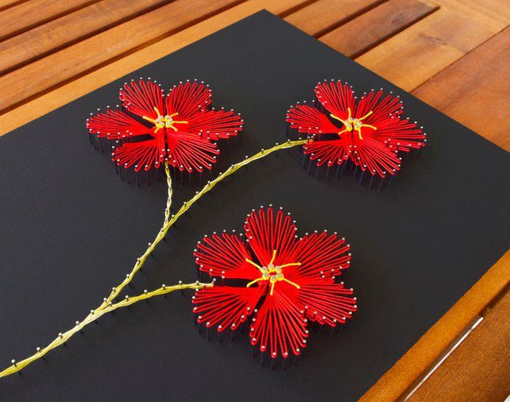 """String art flowers """"Plumeria"""". String art red flowers. Nails and strings art. Plumeria flowers. by TheStringArtStudio on Etsy https://www.etsy.com/listing/275795220/string-art-flowers-plumeria-string-art"""
