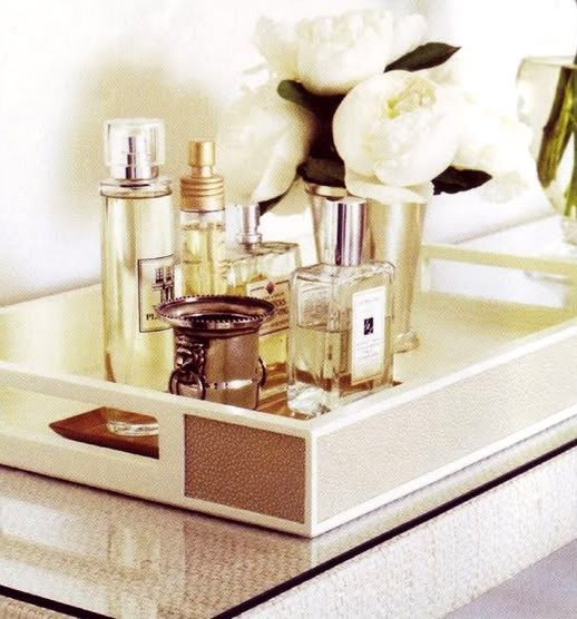 Silver and Gold: Decor, Ideas, Perfume Trays, Vanities Trays, Interiors, Perfume Bottle, House, Bathroom, Rooms