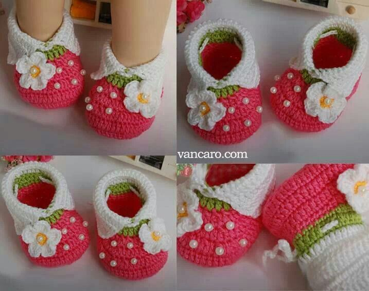 """Strawberry Shortcake"" baby booties"