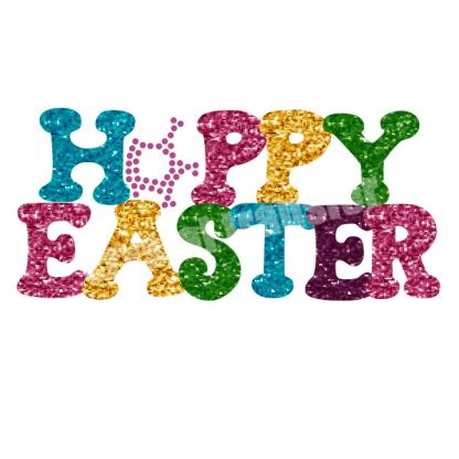 Happy Easter Glitter and Rhinestone Hotfix Motif Transfers